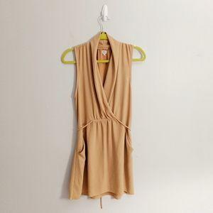 Aritzia Wilfred Tan Camel Silky Sleeveless Dress